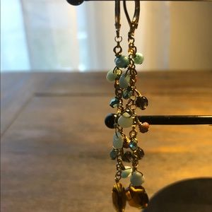 Amber and turquoise dangling earrings